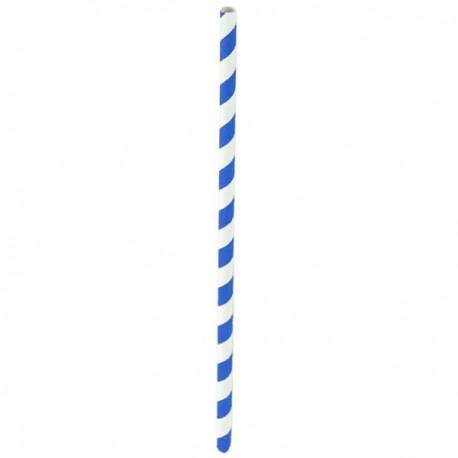 Paille papier bleu/blanc 210 mm