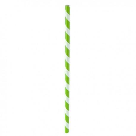Paille papier vert/blanc 210 mm