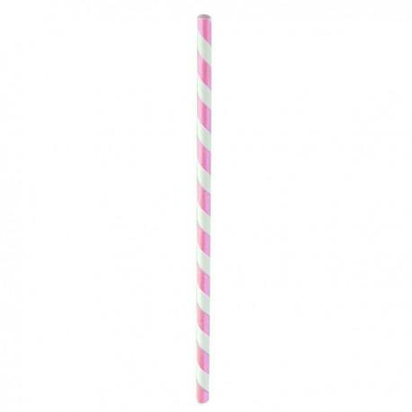 Paille papier rose/blanc 210 mm