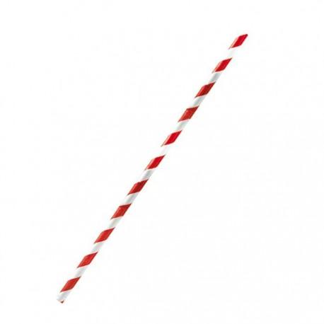 Paille papier rouge/blanc 210 mm