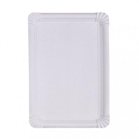 Assiette blanche rectangulaire en carton recyclé