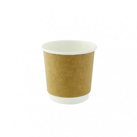Gobelet kraft et blanc carton pla 120ml/4oz