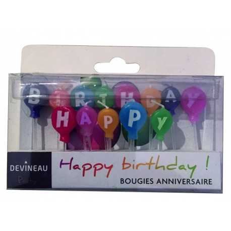 "Bougies sur pic ""happy birthday"" 70mm"
