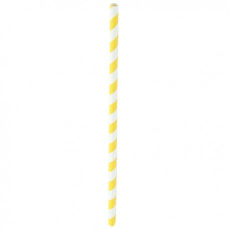 Paille papier jaune/blanc 210 mm